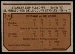 1973 O-Pee-Chee #193   Series C Blackhawks 4 Blues 1 Back Thumbnail