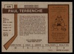 1973 O-Pee-Chee #229  Paul Terbenche  Back Thumbnail