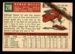 1959 Topps #218  Roman Mejias  Back Thumbnail
