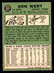 1967 Topps #511  Don Wert  Back Thumbnail
