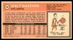 1970 Topps #134  Walt Hazzard   Back Thumbnail