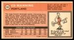 1970 Topps #132  Ed Manning   Back Thumbnail