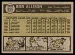 1961 Topps #355  Bob Allison  Back Thumbnail