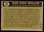 1961 Topps #25   -  Frank Robinson / Vada Pinson / Gus Bell Reds Heavy Artillery Back Thumbnail