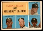 1961 Topps #49   -  Don Drysdale / Sandy Koufax / Ernie Broglio / Sam Jones NL Strikeout Leaders Front Thumbnail