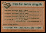1978 Topps #262   Stanley Cup Semi-finals - Canadiens Sweep Maple Leafs Back Thumbnail