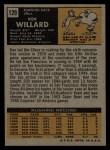 1971 Topps #129  Ken Willard  Back Thumbnail