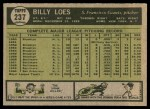 1961 Topps #237  Billy Loes  Back Thumbnail
