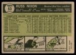1961 Topps #53  Russ Nixon  Back Thumbnail