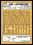 1968 Topps #457  Jim LeFebvre  Back Thumbnail