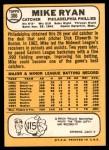 1968 Topps #306  Mike Ryan  Back Thumbnail