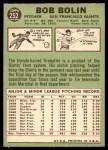 1967 Topps #252 xSTR Bobby Bolin  Back Thumbnail