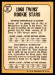 1968 Topps #301   -  George Mitterwald / Rick Renick Twins Rookies Back Thumbnail