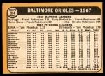 1968 Topps #334   Orioles Team Back Thumbnail