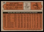 1972 Topps #295  Dick Dietz  Back Thumbnail