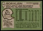 1978 Topps #187  Bob Klein  Back Thumbnail