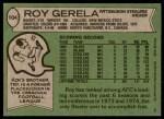 1978 Topps #104  Roy Gerela  Back Thumbnail