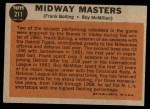 1962 Topps #211   -  Frank Bolling / Roy McMillan Midway Masters Back Thumbnail