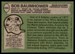 1978 Topps #466  Bob Baumhower  Back Thumbnail