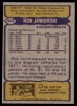 1979 Topps #323  Ron Jaworski  Back Thumbnail