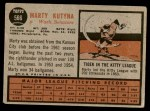 1962 Topps #566  Marty Kutyna  Back Thumbnail