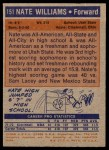 1972 Topps #151  Nate Williams   Back Thumbnail