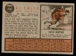 1962 Topps #410  Al Smith  Back Thumbnail