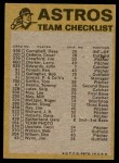 1974 Topps Red Team Checklist   Astros Team Checklist Back Thumbnail