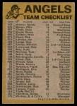 1974 Topps Red Team Checklist   Angels Team Checklist Back Thumbnail