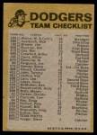 1974 Topps Red Team Checklist   Dodgers Team Checklist Back Thumbnail