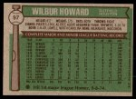 1976 Topps #97  Wilbur Howard  Back Thumbnail