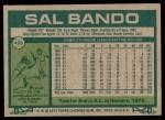 1977 Topps #498  Sal Bando  Back Thumbnail