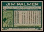 1977 Topps #600  Jim Palmer  Back Thumbnail