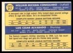 1970 Topps #317   -  Luis Alvarado / Billy Conigliaro Red Sox Rookies Back Thumbnail