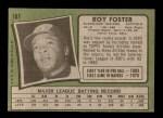 1971 Topps #107  Roy Foster  Back Thumbnail