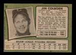 1971 Topps #38  Jim Colborn  Back Thumbnail