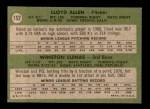 1971 Topps #152   -  Lloyd Allen / Winston Llenas Angels Rookies Back Thumbnail