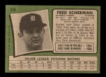 1971 Topps #316  Fred Scherman  Back Thumbnail