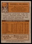 1978 Topps #119  Darnell Hillman  Back Thumbnail