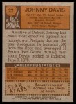 1978 Topps #22  Johnny Davis  Back Thumbnail