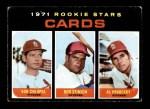 1971 Topps #594   -  Al Hrabosky / Bob Chiupsa / Bob Stinson Cardinals Rookies Front Thumbnail