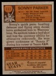 1978 Topps #111  Sonny Parker  Back Thumbnail