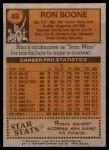 1978 Topps #49  Ron Boone  Back Thumbnail