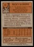 1978 Topps #93  Ricky Sobers  Back Thumbnail