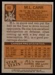 1978 Topps #82  ML Carr  Back Thumbnail