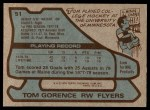 1979 Topps #51  Tom Gorence  Back Thumbnail