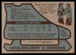 1979 Topps #159  Dave Maloney  Back Thumbnail