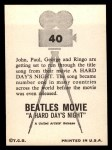 1964 Topps Beatles Movie #40   Title Song Back Thumbnail