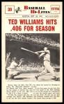 1960 Nu-Card Baseball Hi-Lites #39   -  Ted Williams Hits .406 for Season Front Thumbnail