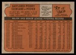 1972 Topps #285  Gaylord Perry  Back Thumbnail